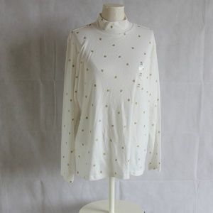 Karen Scott Turtleneck Leaf White 0X 3X Knit Top